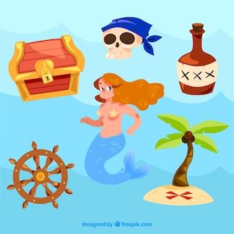 Zeemeermin en piraat elementen