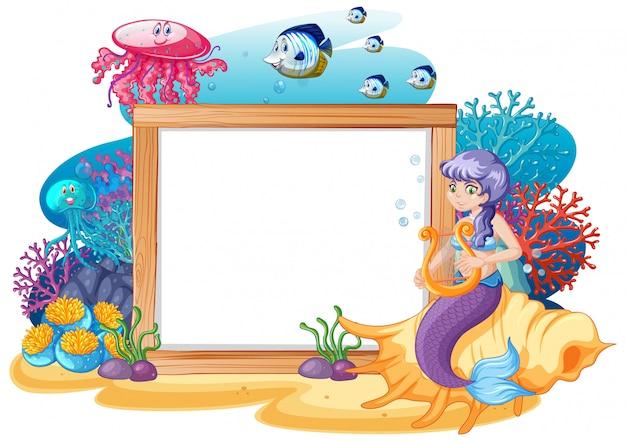 Zeemeermin en zee dier thema met lege banner cartoon stijl op witte achtergrond Premium Vector