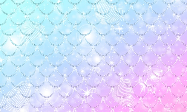 Zeemeermin kawaii patroon. vis schaal. aquarel holografische sterren.