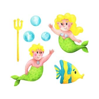Zeemeermin meisje en jongen met geel haar vis drietand bubbels een set illustraties voor kinderen met stripfiguren