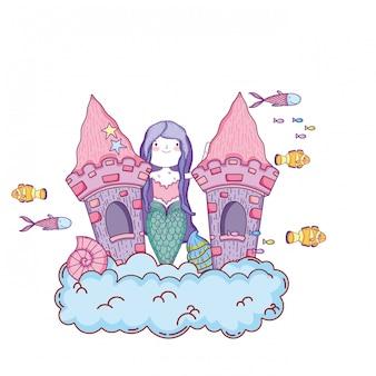 Zeemeermin met kasteel onderzeese scène
