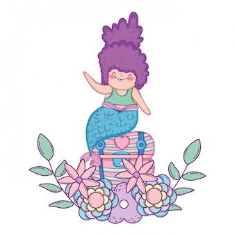 Zeemeermin met schatborst en bloemen