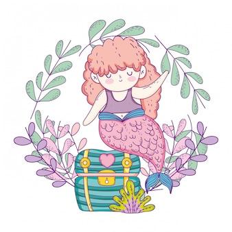 Zeemeermin met schatborst en kroon