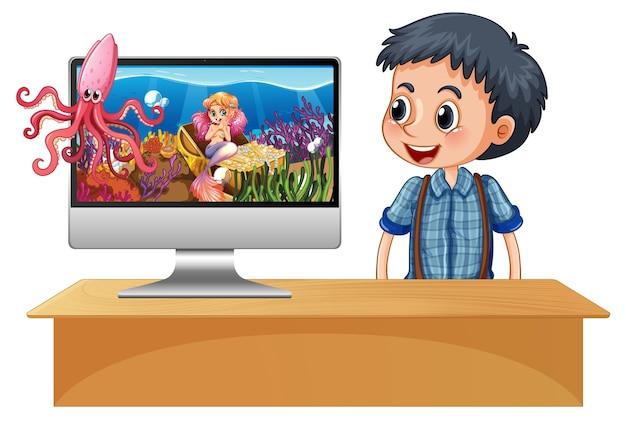 Zeemeermin op computerscherm