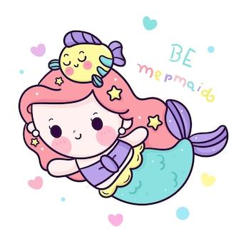 Zeemeermin prinses cartoon met vis kawaii karakter