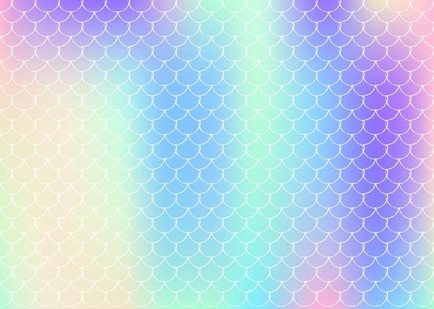 Zeemeermin schalen achtergrond met holografische gradiënt. heldere kleurovergangen. vissenstaartbanner en uitnodiging. onderwater- en zeepatroon voor een meisjesfeest. fluorescerende achtergrond met zeemeermin schalen.