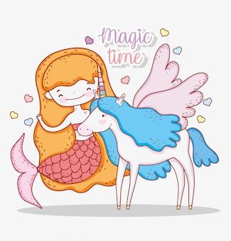 Zeemeermin vrouw en schattige eenhoorn met vleugels