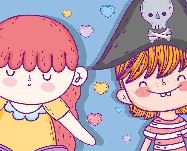 Zeemeermin vrouw met piraat jongen en harten