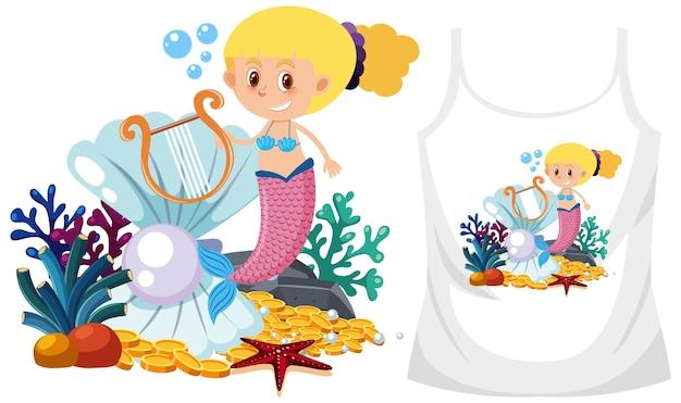 Zeemeerminillustratie voor t-shirtontwerp, klaar om af te drukken