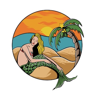 Zeemeerminmeisje op het strand met palm en zonsondergang
