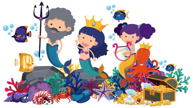 Zeemeerminnen en vissen onderwater op wit