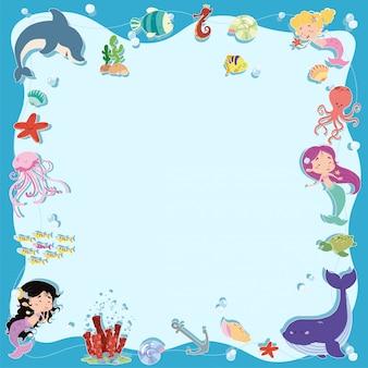 Zeemeerminnen frame en zee achtergrond