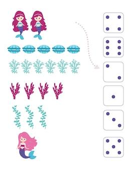 Zeemeerminnen. werkblad voor het onderwijzen van wiskunde en rekenen. voor kleuters en kleuters. vector, cartoon-stijl.