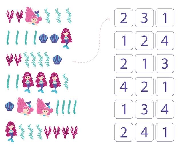 Zeemeerminnen. werkblad voor het onderwijzen van wiskunde en rekenen. voor kleuters en kleuters. vector, cartoonstijl.