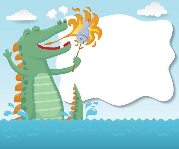 Zeemonster cartoon die een vis met zijn eigen vuur in de zee grilt