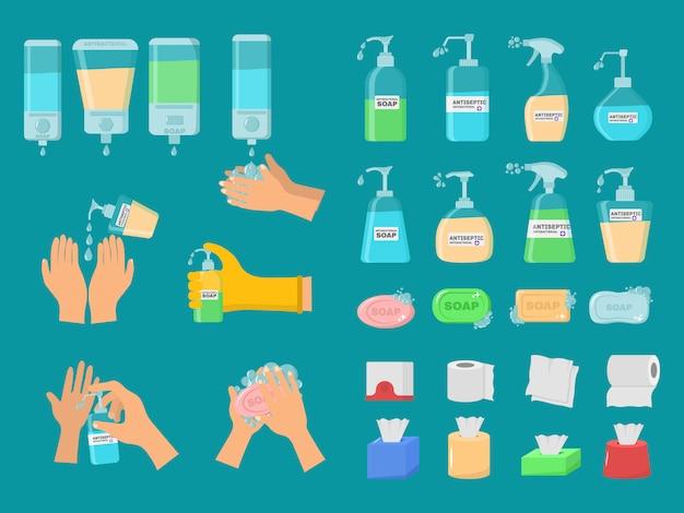 Zeep, antiseptische gel en andere hygiënische producten van coronavirus. antibacteriële concept. hygiëne pictogrammen instellen. antiseptische spray in kolf doodt bacteriën. alcohol vloeistof, pomp spray fles. vector illustratie.