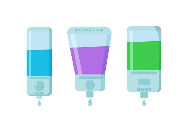 Zeep, antiseptische gel en andere hygiënische producten van coronavirus. antiseptische spray in kolf doodt bacteriën. hygiëne icons set. antibacterieel concept. alcoholvloeistof, pompspuitfles. .