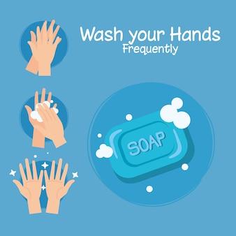 Zeep bar en handen wassen stappen