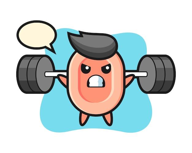 Zeep mascotte cartoon met een barbell, leuke stijl voor t-shirt, sticker, logo-element