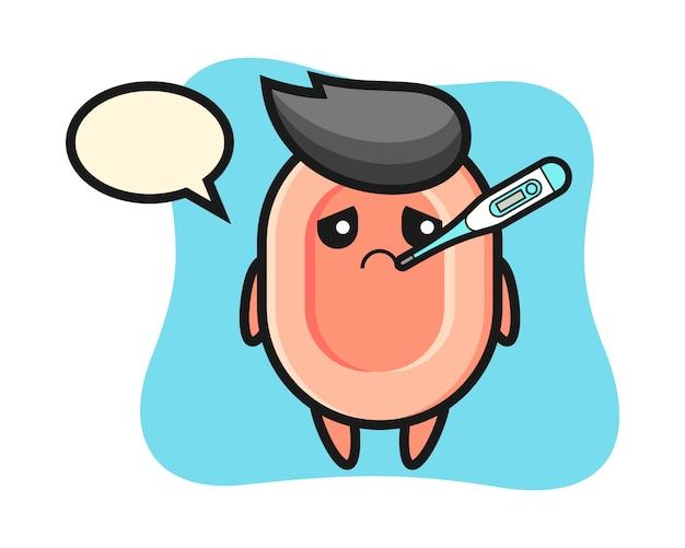Zeep mascotte karakter met koorts, schattige stijl voor t-shirt, sticker, logo-element