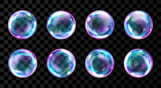 Zeep regenboog bubbels met reflecties