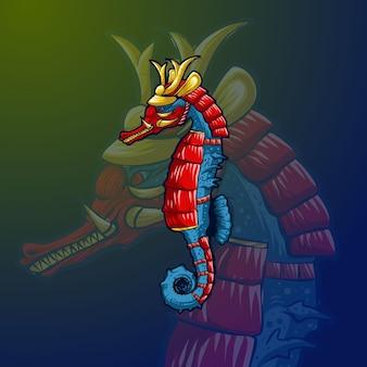 Zeepaard stijl samurai vectorillustratie