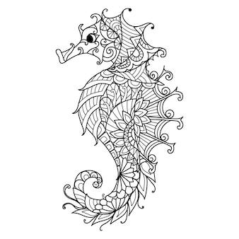 Zeepaardje voor kleurboek, kleurplaat voor volwassenen of print op product. vector illustratie