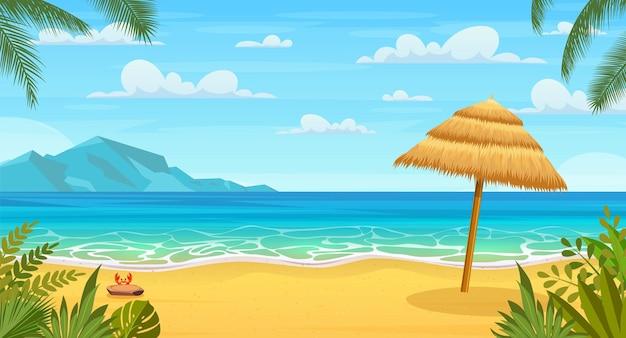 Zeepanorama. tropisch strand. zeegezicht, vakantiebanner