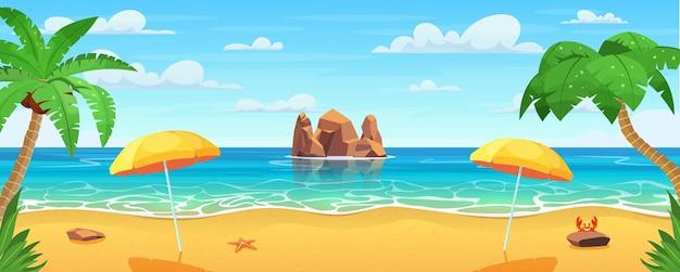 Zeepanorama. tropisch strand. zeegezicht, vakantiebanner.