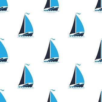 Zeepatroon met schepen. naadloze achtergrond in een mariene stijl.