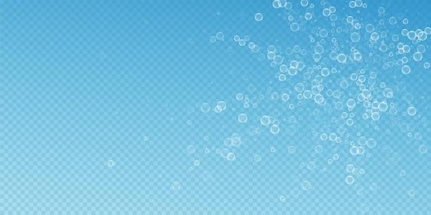 Zeepbellen abstracte achtergrond. bellen blazen op blauwe transparante achtergrond. adembenemende overlay-sjabloon van zeepachtig schuim. elegante vectorillustratie.