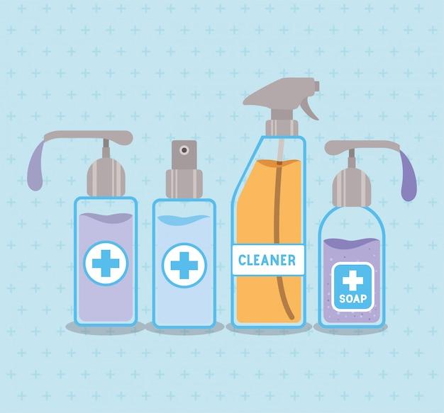 Zeepdispensers en alcoholsprayfles met kruisontwerp, hygiënewasgezondheid, schone, gezonde bacteriën, badkamerbescherming en vloeibaar thema