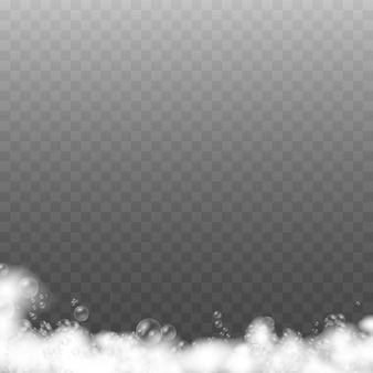 Zeepschuim geïsoleerd op transparante achtergrond.