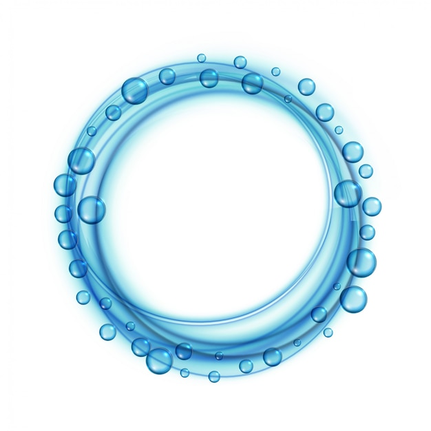 Zeepwater bubbels blauwe frame achtergrond