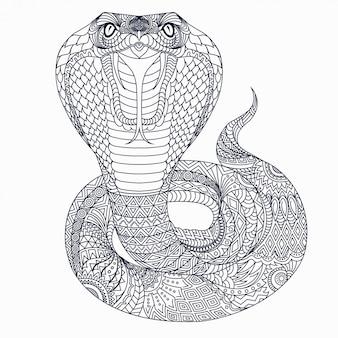 Zeer fijne tekeningen cobra zentangle vector