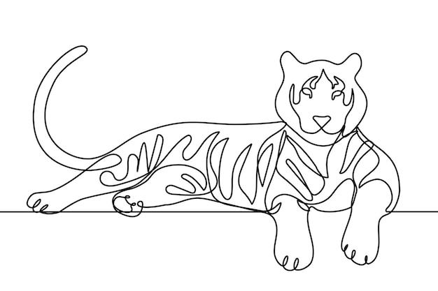 Zeer fijne tekeningen liegen tijger moderne stijl vector illustraion één regel hand tekenen