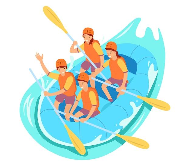Zeer leuke rafting-illustratie voor websites, landingspagina's en mobiele apps
