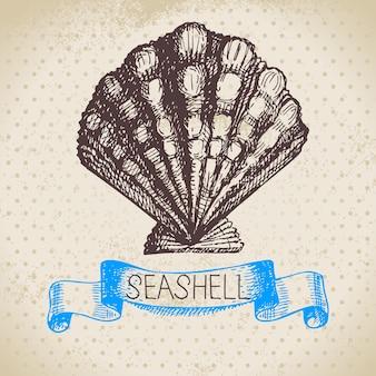 Zeeschelp hand getrokken schets. vintage illustratie