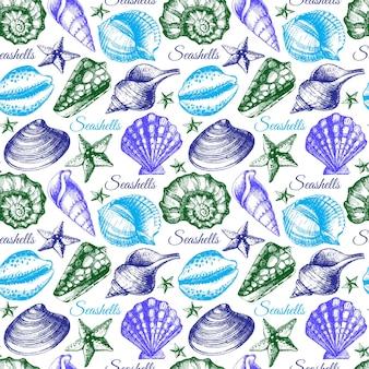 Zeeschelp naadloos patroon. hand getrokken schets illustratie