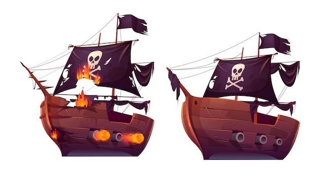 Zeeslag van houten schip, piraat zeilboot