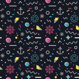 Zeevaart naadloos patroon in de stijl van memphis.