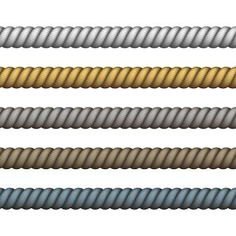 Zeevaarttouw dun en dik. klimmen gedraaid touw voor lasso- of zeeknopen. marine touw van verschillende kleur voor rand of frame.
