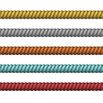 Zeevaarttouw dun en dik. marine touw van verschillende kleur voor rand of frame. klimmen gedraaid touw voor lasso- of zeeknopen.