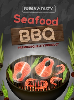 Zeevruchten bbq-banner, verse en smakelijke product flyer