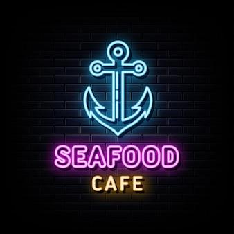 Zeevruchten café neonreclames vector ontwerpsjabloon neonreclame
