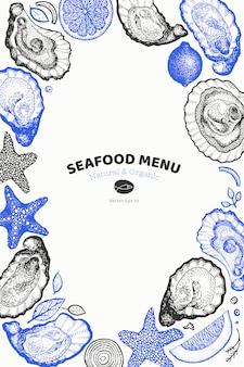 Zeevruchten cover menu met oesters en kruiden ontwerp