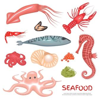 Zeevruchten delicatessen achtergrond set
