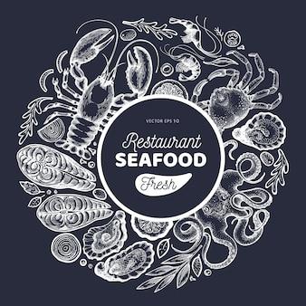 Zeevruchten en vis ontwerpsjabloon