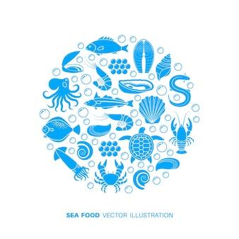 Zeevruchten en vis pictogrammen.