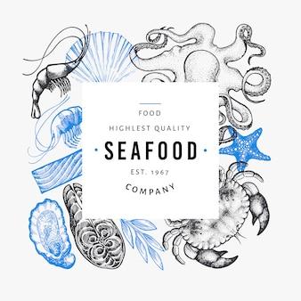 Zeevruchten en vis sjabloon.
